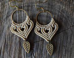 Macrame earrings with brass hoops with brass leaf   Boho - Hippie beige macrame earrings
