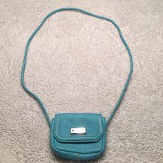 Tignanello cross body purse. Turquoise and genuine leather. Excellent condition. Tignanello Bags Crossbody Bags