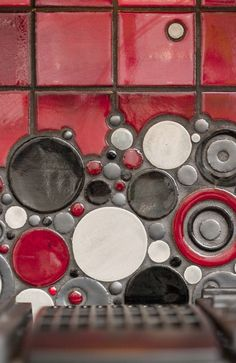 Love their tile collections! organic edge field tile with bubbles. SOOO doing this in my future home. not even kidding. Red Kitchen Tiles, Red Tiles, Mosaic Art, Mosaic Glass, Stained Glass, Mosaic Backsplash, Backsplash Ideas, Kitchen Backsplash, Red And Grey