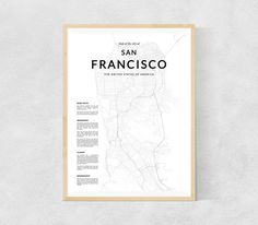 San Francisco map print, San Francisco wall map, San Francisco print, San Francisco poster, San Francisco map, Black and White print, SF