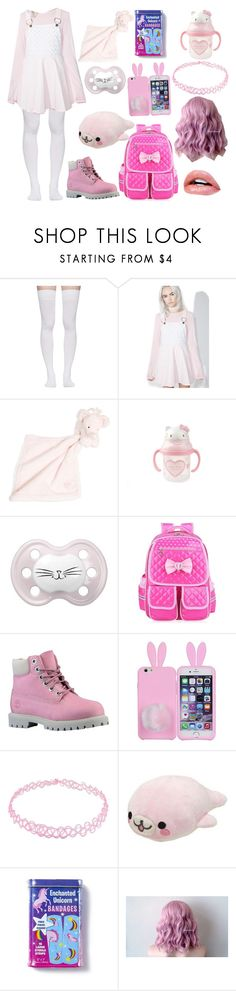 """""""Mdlg Pink day out"""" by jiselavelez ❤ liked on Polyvore featuring Marieyat, Macaron Hombeth, Tartine et Chocolat, Hello Kitty, Timberland, CO, claire's and mdlg"""
