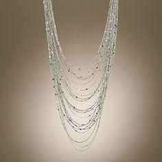 Jennifer Lopez Silver Tone Multistrand Necklace  original $48.00  sale $33.60