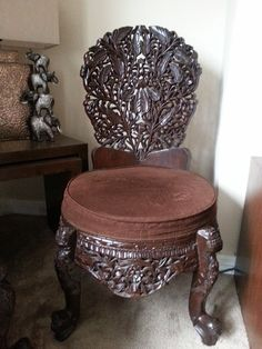 Amazing hand carved sheesham wood chair. buy online at www.caveonline.co.uk