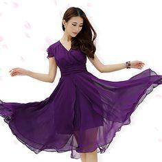 Damen+Kleid++-++Gefaltet+Maxi+Chiffon+Kurzarm+Chorhemd+Ausschnitt+–+CHF+₣+28.07