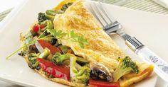 Recette de Omelette au brocoli, poivron et champignon. Facile et rapide à réaliser, goûteuse et diététique. Ingrédients, préparation et recettes associées.
