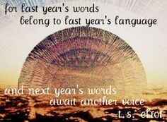 For last year's words belong to last year's language and next year's words await another voice. - T.S. Eliot
