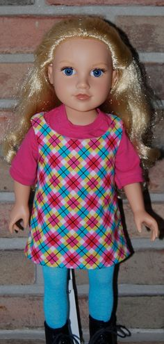 18 Inch American Girl Doll - Sleeveless Dress with Pink T-Shirt and Aqua tights - pinned by pin4etsy.com