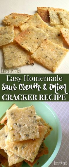 This homemade Sour Cream and Onion Crackers recipe is easy to make! Use this tutorial to learn how to make homemade crackers to snack on or serve with soup. This snack recipe is sure to become a family favorite! for work, Baking Recipes, Snack Recipes, Onion Recipes, Party Recipes, Homemade Sour Cream, Sour Cream Uses, Cream Crackers, Savory Snacks, Savory Crackers Recipe