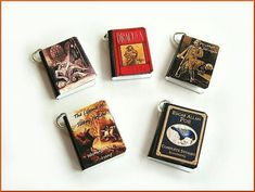 Gothic Classics Mini Book Charms Set of all 5 Steampunk Spooky Inspired Halloween on Etsy, $12.50
