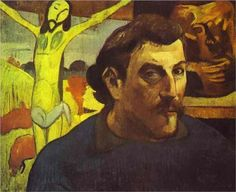 Paul Gauguin (French: 1848 – 1903)  | Cloisonnism | Self Portrait with the Yellow Christ - 1890