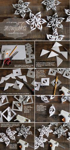 Diy 3D spiral paper snowflakes