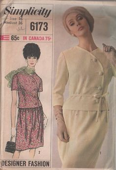 MOMSPatterns Vintage Sewing Patterns - Simplicity 6173 Vintage 60's Sewing Pattern CHARMING Mod Designer Fashion Shaped Curved Button Front Suit Jacket Top, Gathered Skirt, 2 Piece Dress
