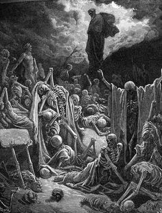Gustave Dore - The Visions of Ezekiel The Vision of the Valley of the Dry Bones fine art preproduction . Explore our collection of Gustave Dore fine art prints, giclees, posters and hand crafted canvas products Gustave Dore, Art And Illustration, Bible Illustrations, Valley Of Dry Bones, La Sainte Bible, Biblical Art, Desenho Tattoo, Danse Macabre, Wood Engraving
