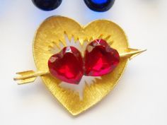 Vintage Brooch Double Heart Ruby Red Rhinestone Gold Tone Textured JJ Jonette Valentine Sweetheart Mid Century Cottage Chic by FindCharlotte on Etsy