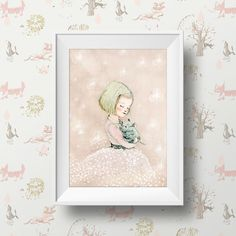 Art Poster Print Childrens Wall Art Print  Girl with cat by holli