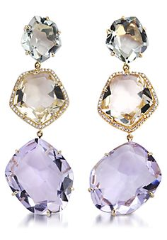 Padani 'Precious Stones' Earrings in 18K yellow gold, jeweled citrine, amethyst and decorated Frizolit around