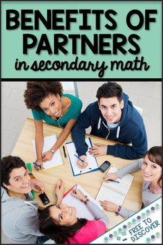 Learn about 5 benefits of utilizing partners and small groups in middle school and high school math.  Cooperative learning is great for confidence, engagement, participation, and more!  Once you've got the basics down, click the image at the bottom of the post to learn how this applies to remote learning and social distancing.  Blog post by Free to Discover. Grammar Lessons, Grammar Worksheets, Middle School Classroom, School Teacher, English Classroom, Teacher Hacks, Math Teacher, College Student Gifts, College Students