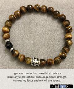 Yoga Bracelets. Men's Women. Healing Energy Prayer Mantra Spiritual Beaded Mala. Tiger Eye Black Onyx Cross. #fertility #infertility