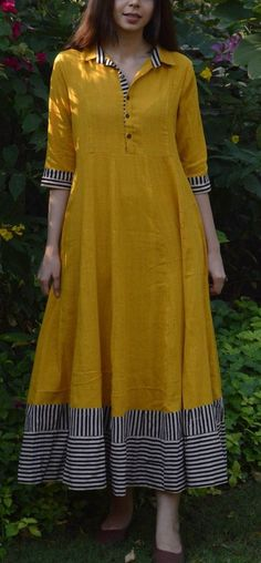 Mustard Flared Maxi with multi-color border Churidar Designs, Kurta Designs Women, Kurti Back Designs, Long Kurta Designs, Dress Neck Designs, Blouse Designs, Kurtha Designs, Indian Dresses, Indian Outfits