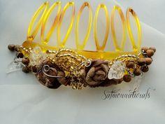 golden ochre- earth tone beaded hair comb handmade #hairjewelry