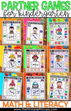 Looking for some kindergarten math and literacy games to make learning and reviewing fun for students? Check out these partner games that are made just for kindergarten! They are easy to prep and NO cutting is required! Kindergarten math games include numbers to 10, numbers 11 - 20, addition, subtraction, 2D shapes, and 3D shapes. The kindergarten literacy games include letter recognition, beginning sounds, CVC and CVCe words, blends and digraphs, and editable sight word games! Click through to