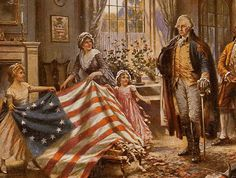 Betsy Ross, a fourth-generation America born on January 1, 1752 in Philadelphia, apprenticed with an upholsterer before irrevocably splitting with her family to marry outside the Quaker religion. She and her husband John Ross started their own upholstery business. Despite a lack of credible evidence to support it, legend holds that President George Washington requested that Betsy make the first American flag.