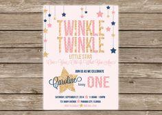Twinkle, Twinkle Little Star Birthday Invitation for little girl...pink, navy blue, gold glitter!