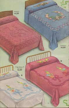 Tufted Candlewick bedspreads. Hid a multitude of sins and still do. It really didn't matter if your sheets were patched, or your blankets were ex-army, because it all looked so respectable during the day!