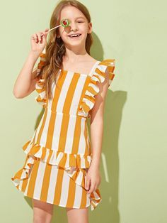 Kids Summer Dresses, Girls Summer Outfits, Cute Girl Outfits, Little Girl Dresses, Outfits For Teens, Dresses For Teens, Girls Dresses, Summer Clothes, Young Fashion