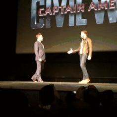 Chris Evans and Robert Downey Jr. presenting the big news about Captain America: Civil War.