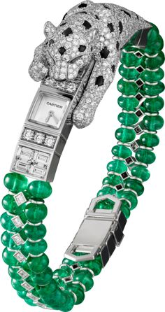 High Jewelry watches created by Cartier. Brought to life by circles, lozenges and squares, and set with the most precious stones, the graphic and harmonious lines of Cartier High Jewelry watches create extravagant perspectives. Cartier Jewelry, Emerald Jewelry, High Jewelry, Jewelry Watches, Cristian Dior, Do It Yourself Jewelry, Diamond Bracelets, Charm Bracelets, Patek Philippe