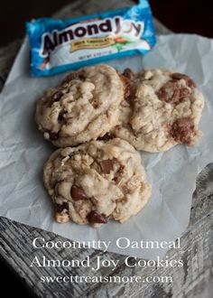 Coconutty Oatmeal Almond Joy Cookies (made with coconut oil) on sweettreatsmore.com #cookies #recipe #coconut