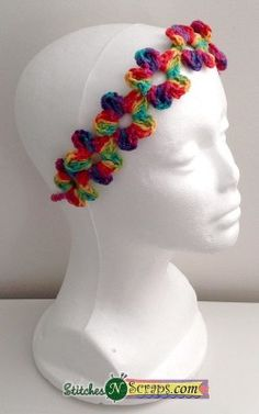 Free #crochet pattern: Chain of Flowers Headband by Stitches N Scraps