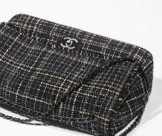 Grand sac classique, tweed & veau grainé-noir & beige - CHANEL