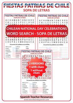 GRATIS: Sopa de letras con vocabulario de las Fiestas Patrias de Chile - FREE Chilean National Day Celebrations Word Search - Spanish Teacher Resources