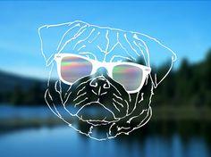 Pug Decal Dog Vinyl Decal Car Decal Bumper Sticker 5 by ShadedLove