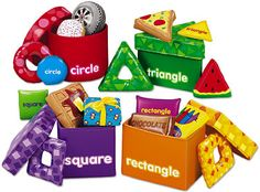 """These """"shape"""" boxes may be cool to teach shapes during a toddler circle time AND for them to manipulate during free play!"""