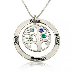 Tree of Life Engraved Birthstone Necklace