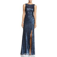 Adrianna Papell Sleeveless Sequin Gown (€215) ❤ liked on Polyvore featuring dresses, gowns, navy, navy blue gown, blue sequin gown, blue gown, blue dress and navy blue evening gown