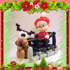 Santa Sleigh Christmas Balloons, Santa Sleigh, Balloon Decorations, Minnie Mouse, Disney Characters, Diy, Bricolage, Do It Yourself, Homemade