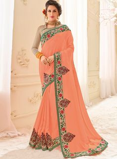 Buy Peach Chiffon Festival Wear Saree 121266 with blouse online at lowest price from vast collection of sarees at m.indianclothstore.c.