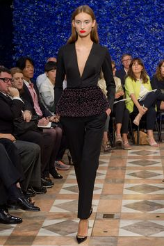 Loving the peplum and slim trousers. Think I'd add a strategically placed cami though.