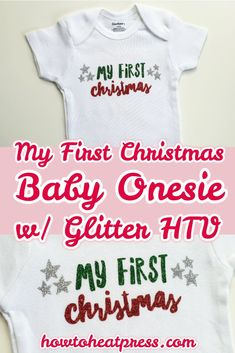 Check out this cool My First Christmas baby onesie project I made, and take a look at these other My First Christmas SVG cut files! Cricut Heat Transfer Vinyl, Cricut Iron On Vinyl, Glitter Heat Transfer Vinyl, Glitter Vinyl, Christmas Svg, Christmas Baby, Vinyl Decor, Cricut Tutorials, Crafts To Make And Sell