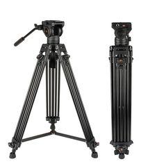 ZQ House Aluminum Alloy Heavy Duty Video Camera Tripod Action Fluid Drag Head with Sliding Plate for DSLR /& SLR Cameras Black Color : Black