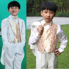 8 Piece Fancy White Floral Double Breasted Boys Dress Suits Tuxedos SKU-132035