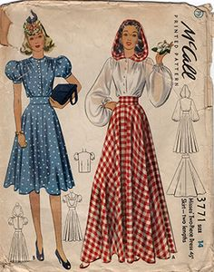VTG Sewing Pattern McCall 3771 Blouse with Hood Floor Length Skirt & Dress 1940s Fashion, Look Fashion, Vintage Fashion, Fashion Outfits, Fashion Design, Vintage Vogue, Steampunk Fashion, Gothic Fashion, Fashion Details
