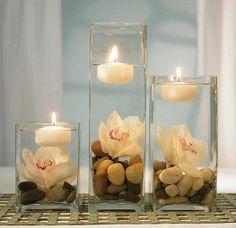 Arranjo de mesa, vela, flores e pedras!