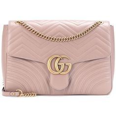 Gucci GG Marmont Large Leather Shoulder Bag (2 935 AUD) ❤ liked on Polyvore  featuring bags, handbags, shoulder bags, pink, gucci handbags, pink purse,  pink ... 937b12c90c