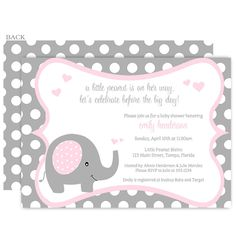 Invite guests to your girl baby shower with this pink and gray invitation featuring a sweet baby elephant, bordered in polka dots, and accented with hearts.
