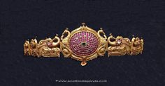 Gold Vadanam Desings, Gold Antique Vadanam, Gold Vadanam with Rubies